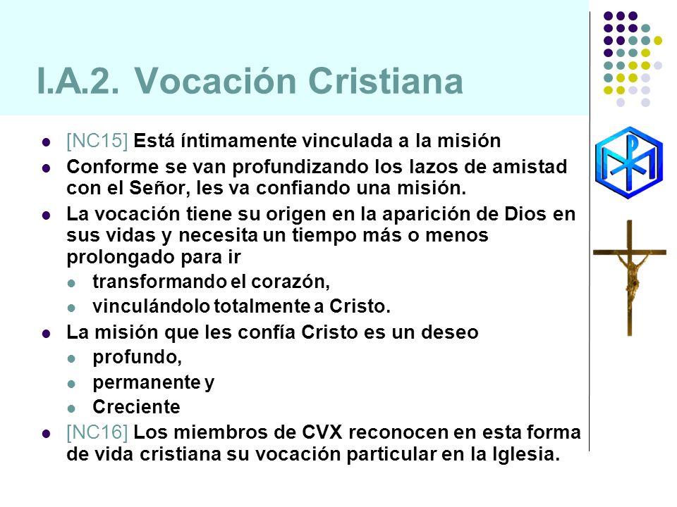I.A.2. Vocación Cristiana [NC15] Está íntimamente vinculada a la misión.